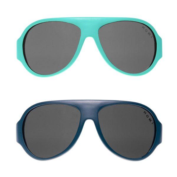 Mokki Click & Change solbriller for barn 2-5 år i blå farge
