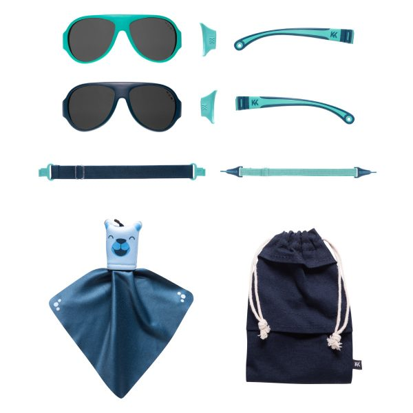 Mokki Sunglasses for kids click and change blue parts and frames