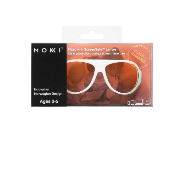 Mokki Sunglasses for kids click and change screen safe with blue block lens - white